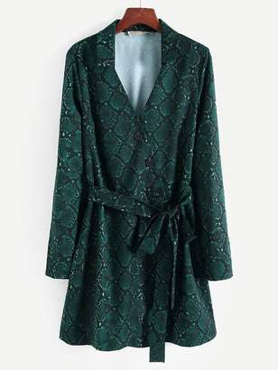 Shein Knot Side Snakeskin Print Shirt Dress