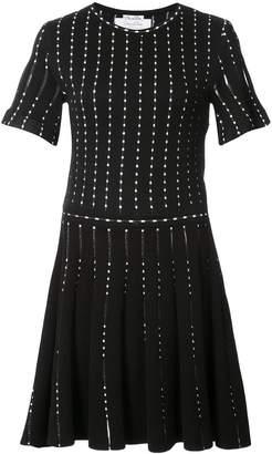 Oscar de la Renta polka-dot embroidered knitted mini dress