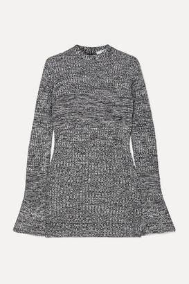 Victoria Victoria Beckham Victoria, Victoria Beckham - Cutout Mélange Ribbed-knit Tunic - Navy