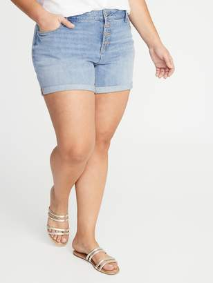 Old Navy High-Waisted Secret-Slim Pockets Button-Fly Plus-Size Jean Shorts - 5-Inch Inseam