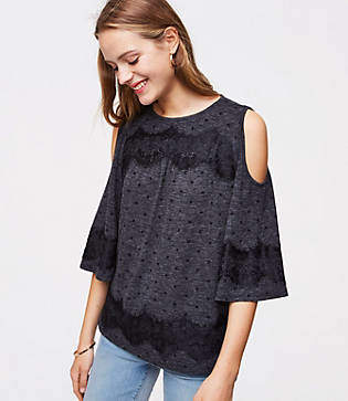 LOFT Lacy Dotted Cold Shoulder Tee