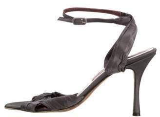 Manolo Blahnik Satin Wrap-Around Sandals purple Satin Wrap-Around Sandals