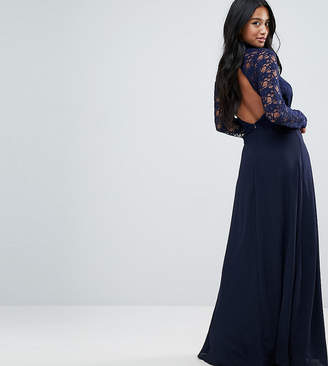 John Zack Petite Over Lace Top Maxi Dress With Open Back