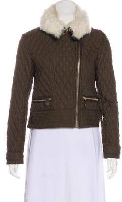 Burberry Quilted Leather-Trimmed Jacket