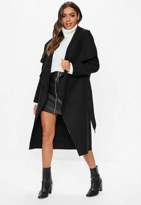Missguided Black Belted Waterfall Coat