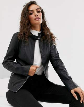 Vila Faux Leather Collarless Jacket