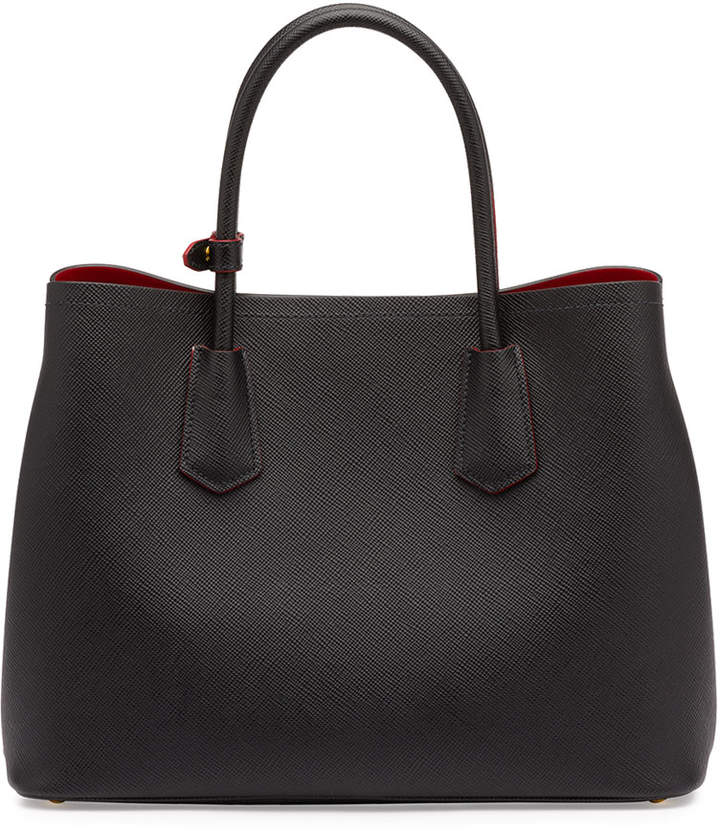 Prada Saffiano Cuir Double Medium Tote Bag, Black/Red (Nero+Fuoco) 3