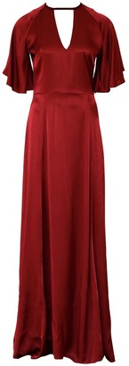 Anna Etter Maxi Wine Viscose Red Dress Cherie With An Open Back