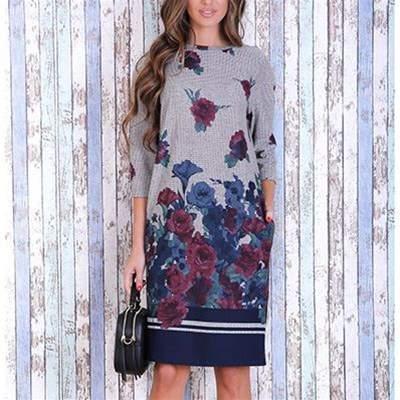 Kleid mit geradem Schnitt - gemustert