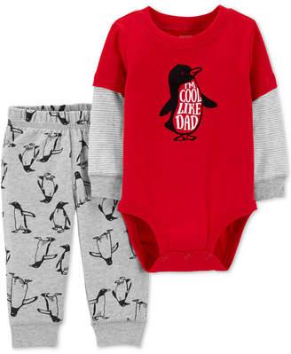 Carter's Baby Boys 2-Pc. Cool Like Dad Bodysuit & Penguin-Print Jogger Pants Set