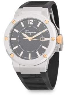 Salvatore Ferragamo Classic Stainless Steel and Rubber Strap Watch