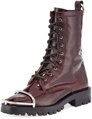 Alexander Wang Kennah Patent Leather Combat Boots with Brush Guard