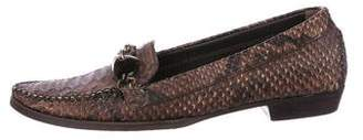 Stuart Weitzman Snakeskin Pointed-Toe Loafers