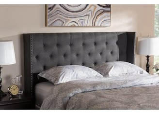 Baxton Studio Ally Modern And Contemporary Dark Gray Fabric Button-Tufted Nail head King Size Winged Headboard