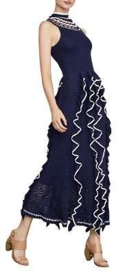 BCBGMAXAZRIA Two-Tone Ruffle Midi Dress