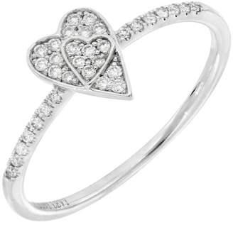 Bony Levy BL Icons 18K White Gold Pave Diamond Heart Shape Ring - Size 7 - 0.12 ctw