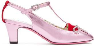 Gucci Anita Crystal Bow Embellished T Bar Leather Pumps - Womens - Pink