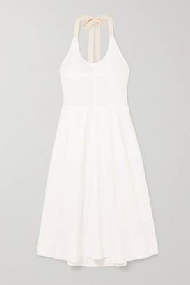 Lee Mathews - Elsie Cotton-blend Poplin Halterneck Midi Dress - Ivory
