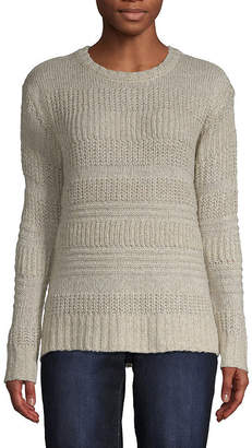 ST. JOHN'S BAY Long Sleeve Cozy Textured Stripe Pullover - Tall
