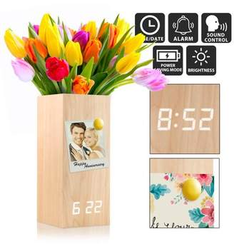 Oct17 Wooden Alarm Clock Vase, Modern Wood Digital Alarm Clock, Voice Control Electric Smart LED Alarm Clock with Flower Plant Vase for Bedroom Office Home - Wood(X5) with White Light