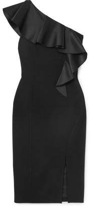 Michael Kors One-shoulder Ruffled Satin-trimmed Wool-blend Crepe Dress - Black