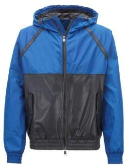 BOSS Hugo Hybrid jacket in lightweight technical fabric & leather 42R Open Blue