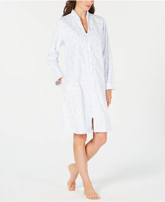 Charter Club Printed Zip-Front Short Robe