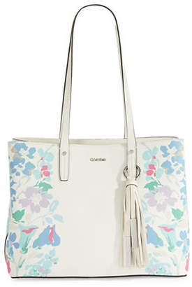 Calvin Klein Maggie Floral Leather Tote