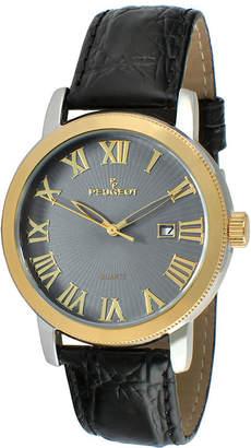 Peugeot Mens Black Leather Strap Watch 2040GBK