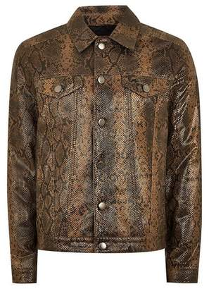 Topman Mens Brown Leather Snake Print Western Jacket