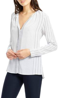 Ecru Striped Classic Blouse