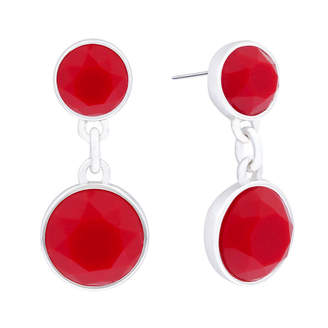 Liz Claiborne Red Stone Silver-Tone Double Drop Earrings