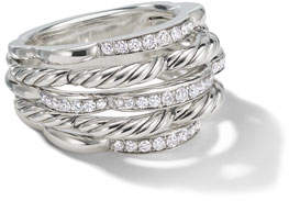 David Yurman Tides Small Dome & Diamond Pave Ring