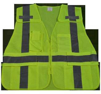 Petra Roc LVM2-LPSV-PLUS Public Safety Vest 207-2006 Lime Mesh 5 Point Breakaway with Non-Cloth Hook & Eye Breakaway Zipper & Expandable Side Closures 5 Pockets, Plus 2X & 5X