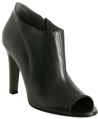 Theory black leather 'Sacha' peep toe ankle boots