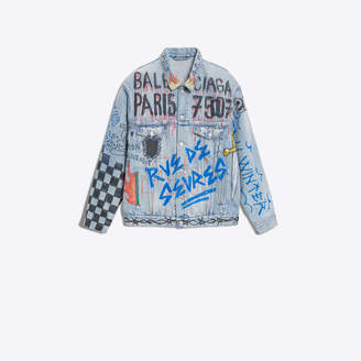 Balenciaga Oversize denim jackets with handmade graffitis placement