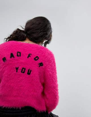 Lazy Oaf Shrunken Cardigan In Fluffy Knit With Bad For You Back