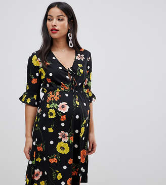 New Look Maternity wrap dress in floral and spot