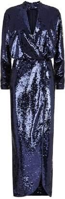 Monique Lhuillier Sequin Wrap Midi Dress