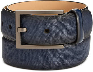 Men's Faux-Saffiano Navy Belt, Created for Macy's