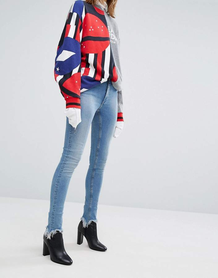 Cheap MondayCheap Monday Second Skin High Rise Skinny Jeans with Unravelled Hem