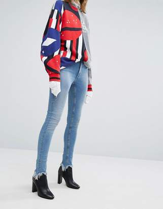 Cheap Monday Second Skin High Rise Skinny Jeans with Unravelled Hem