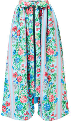 Emilia Wickstead Evelyn Floral-print Cloqué Wrap Skirt - Blue
