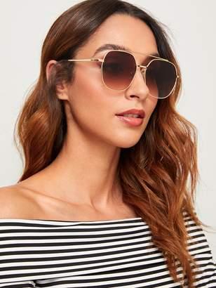 a16e1f4bbae8 Shein Top Bar Metal Frame Aviator Sunglasses