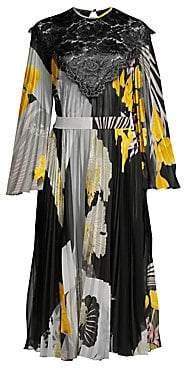 Etro Women's Lace V-Bib Pleated Floral Dress