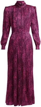 ALESSANDRA RICH Leopard-print silk-satin dress