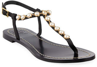 Tory Burch Emmy Pearly Beaded Flat Sandals
