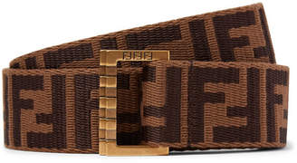 Fendi 3.5cm Brown Webbing And Leather Belt - Brown