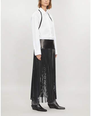Valentino Fringed leather midi skirt