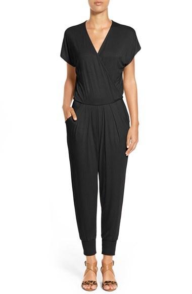 Petite Women's Loveappella Short Sleeve Wrap Top Jumpsuit